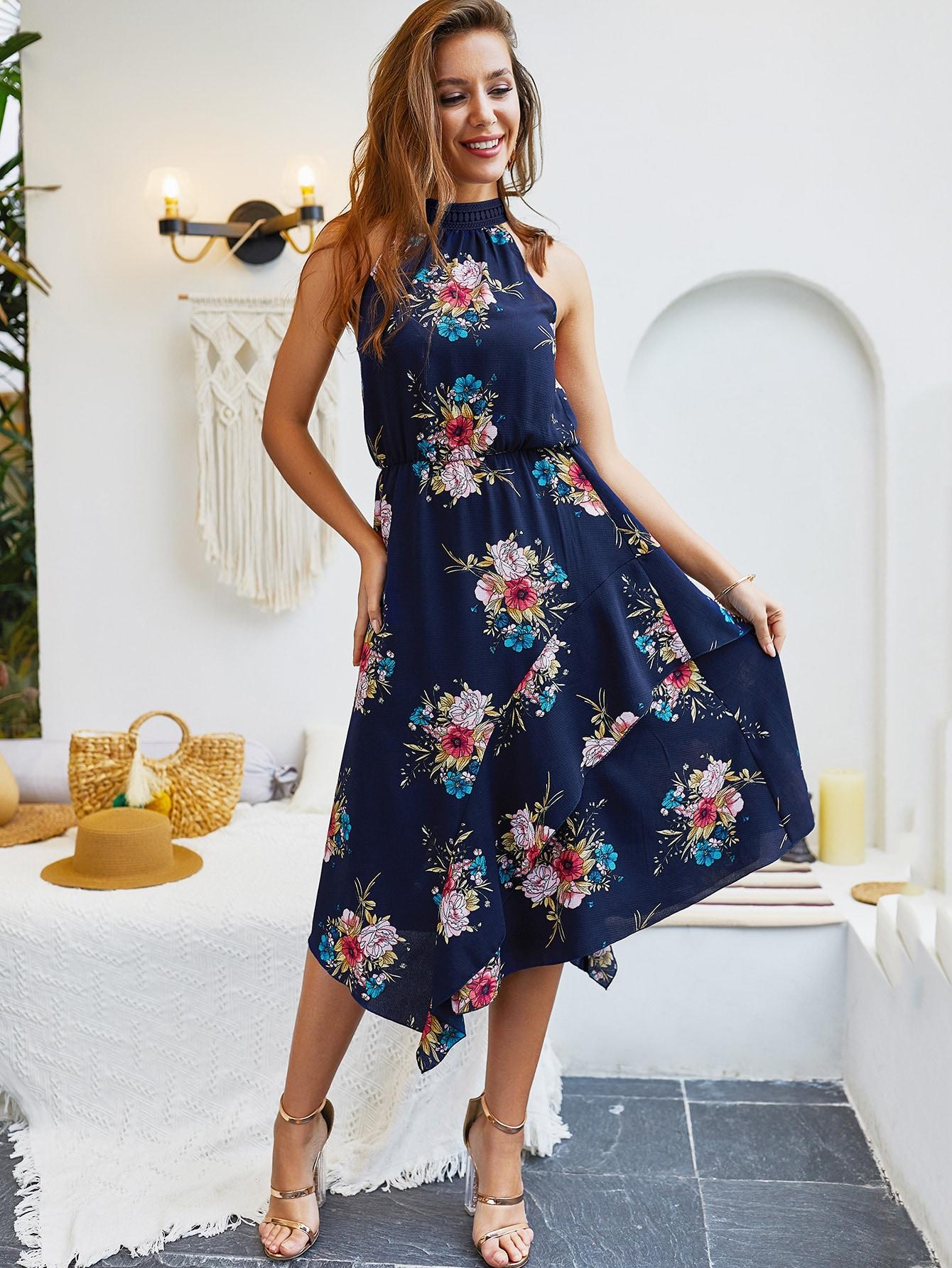 Купить Цветочное платье-халтер с бантом сзади и оборкой, null, SheIn