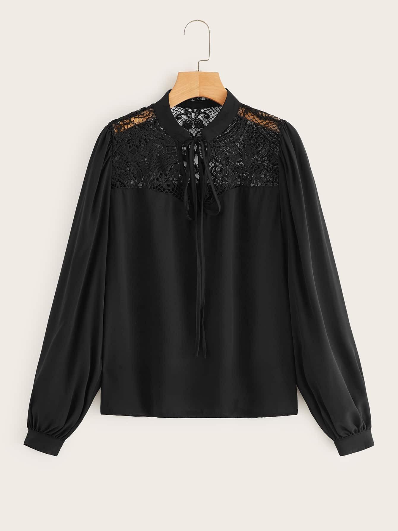Купить Блузка с завязкой на шее и кружевной вставкой, null, SheIn