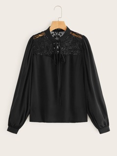 Guipure Lace Insert Tied Neck Blouse