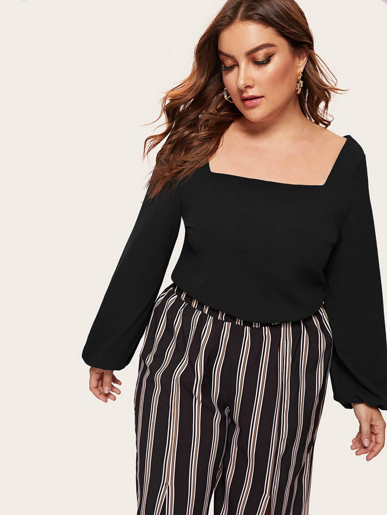 Купить Размер плюс блузка с оригинальным рукавом и квадрадным воротником, Franziska, SheIn