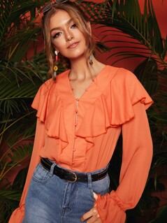 Ruffle Trim Bell Sleeve Button Up Blouse