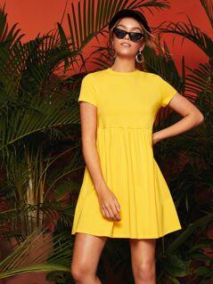 Short Sleeve Solid Smock Dress