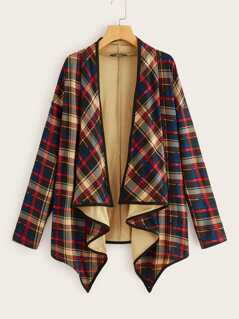 Contrast Binding Hanky Hem Plaid Coat
