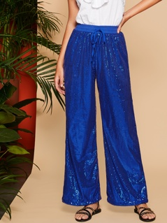 Drawstring Waist Wide Leg Sequin Pants