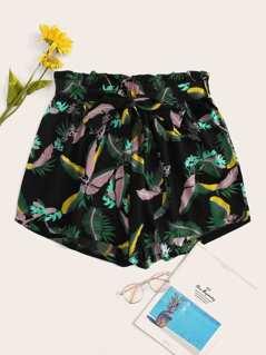 Plus Paper-bag Waist Jungle Leaf Print Shorts
