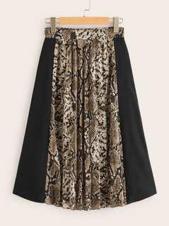 Snakeskin Print Combo Skirt