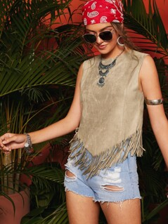 Fringe Edge Solid Suede Tank Top