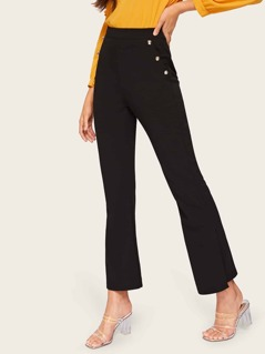 Button Detail Flare Hem Pants
