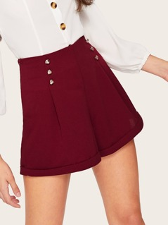 Rolled Hem Double Breasted Boxed Pleated Shorts