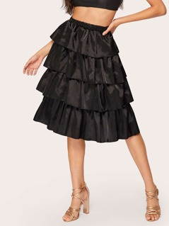 Solid Tiered Ruffle Skirt
