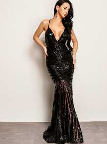 Joyfunear Crisscross Open Back Fishtail Plunging Sequin Dress