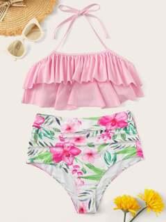 Flounce Halter Top With Flower Print High Waist Bikini