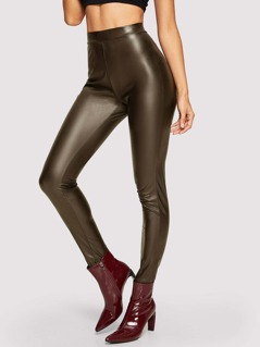 Leather Look Skinny Solid Pants