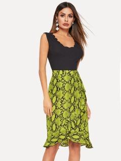 Snake Print Overlap Ruffle Trim Skirt