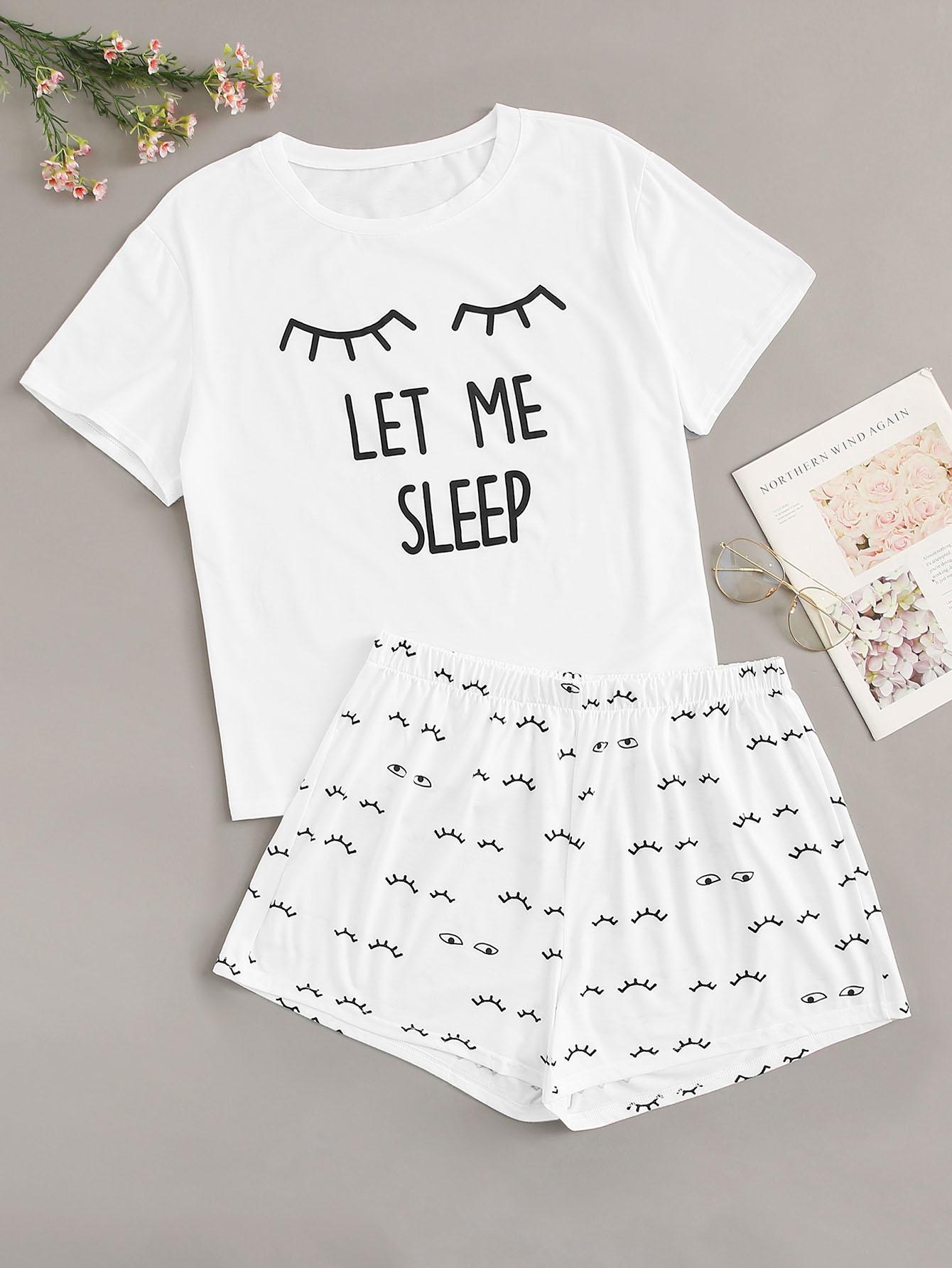 Купить Размера плюс пижама с текстовым принтом, null, SheIn