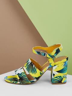 Tropical Print Open Toe Wide Band Heel Sandals