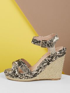 Open Toe Snake Platform Wedge Sandals