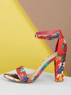 Floral Print Single Band Block Heel Sandals