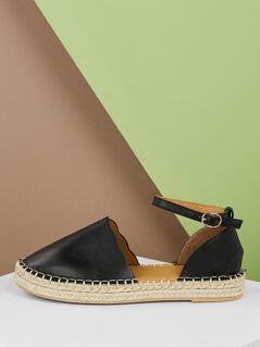 Petal Edge Jute Trim Flatform Ankle Strap Flats