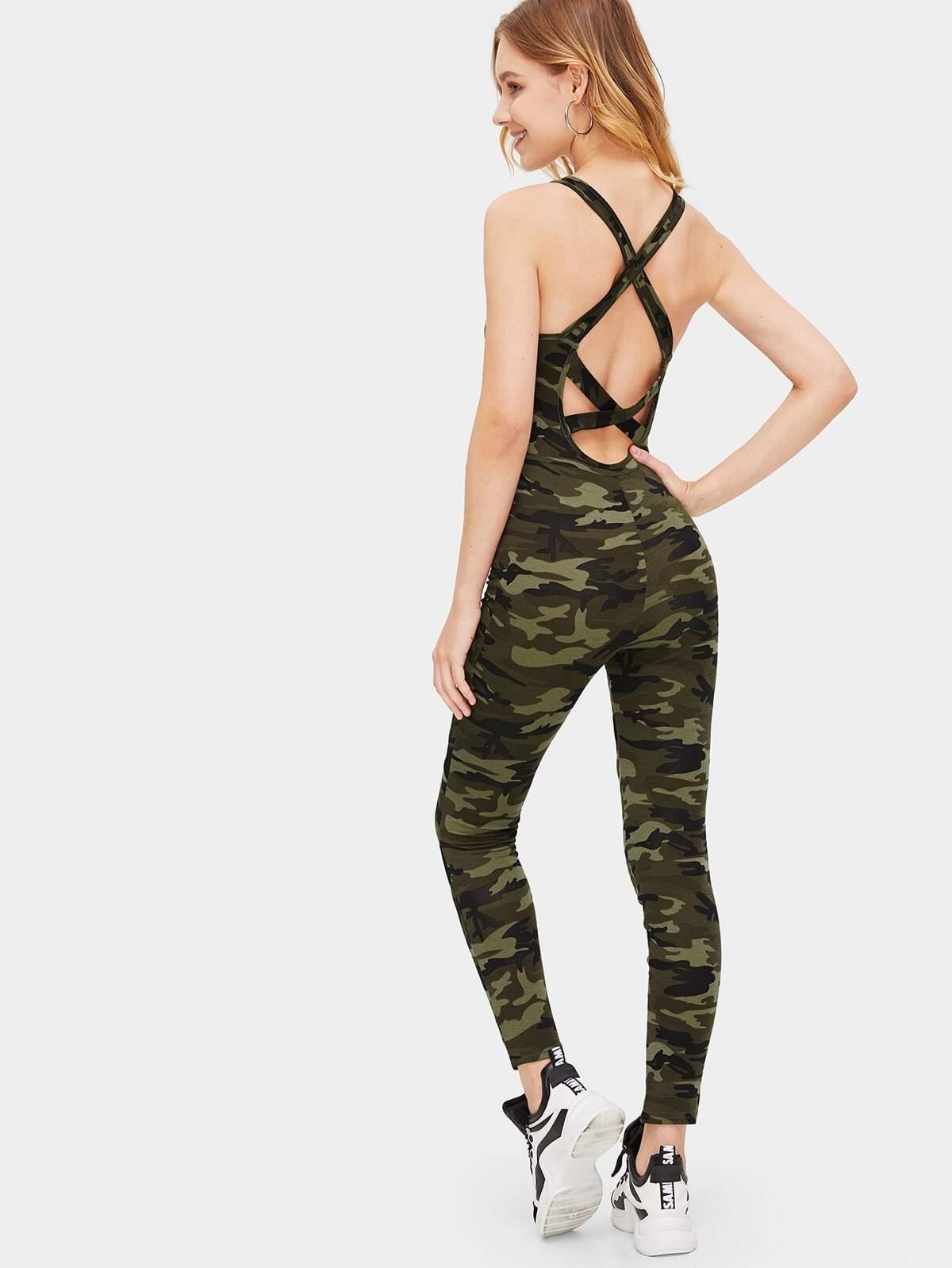 交錯 背 細網 嵌入 迷彩色 彈力緊身衣 連身服飾