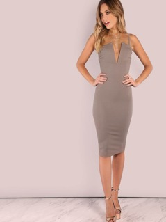 Plunging Bust Bandeau Bodycon Midi Dress MOCHA