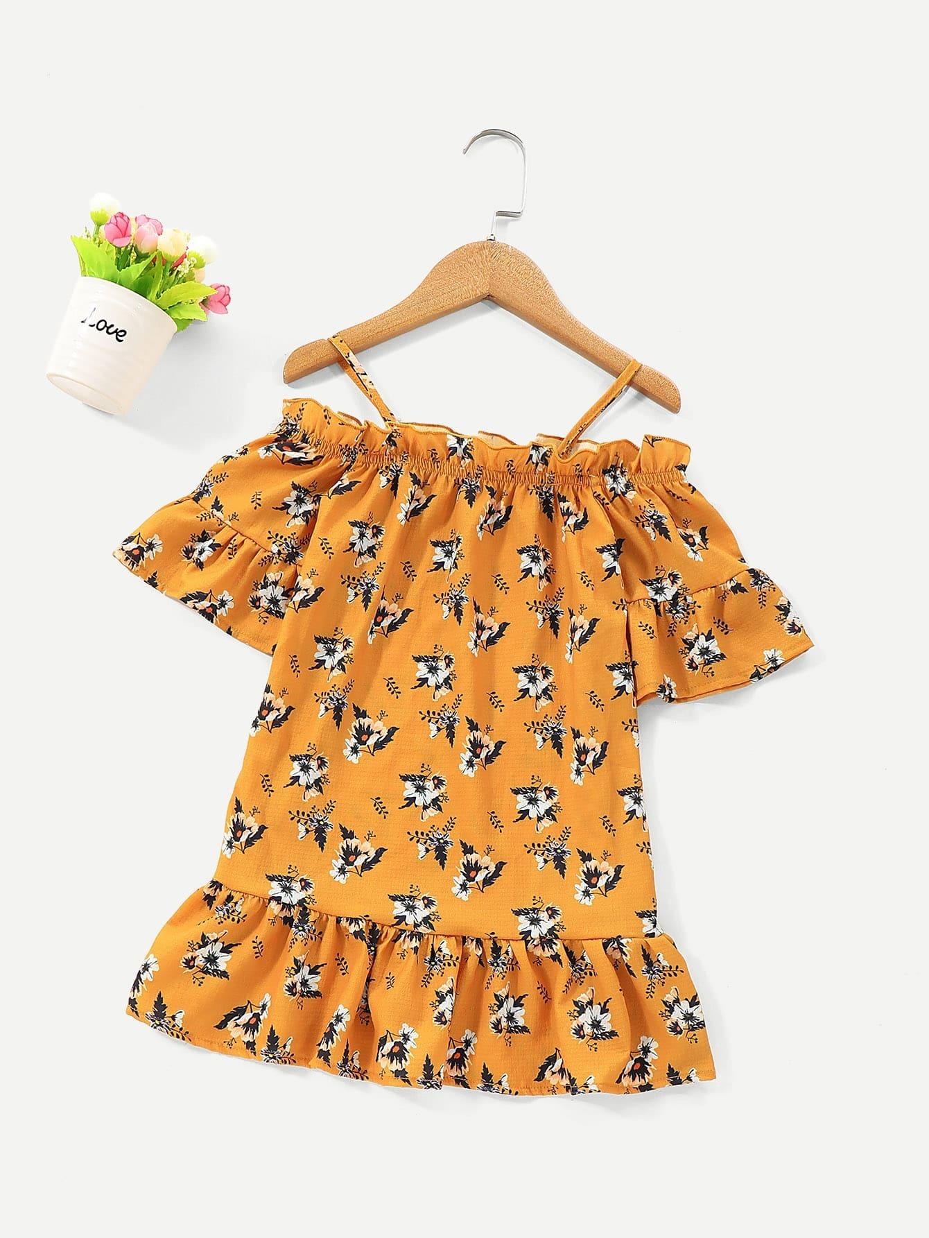 Купить Цветочная блузка на бретелях с оборкой для девочек, null, SheIn