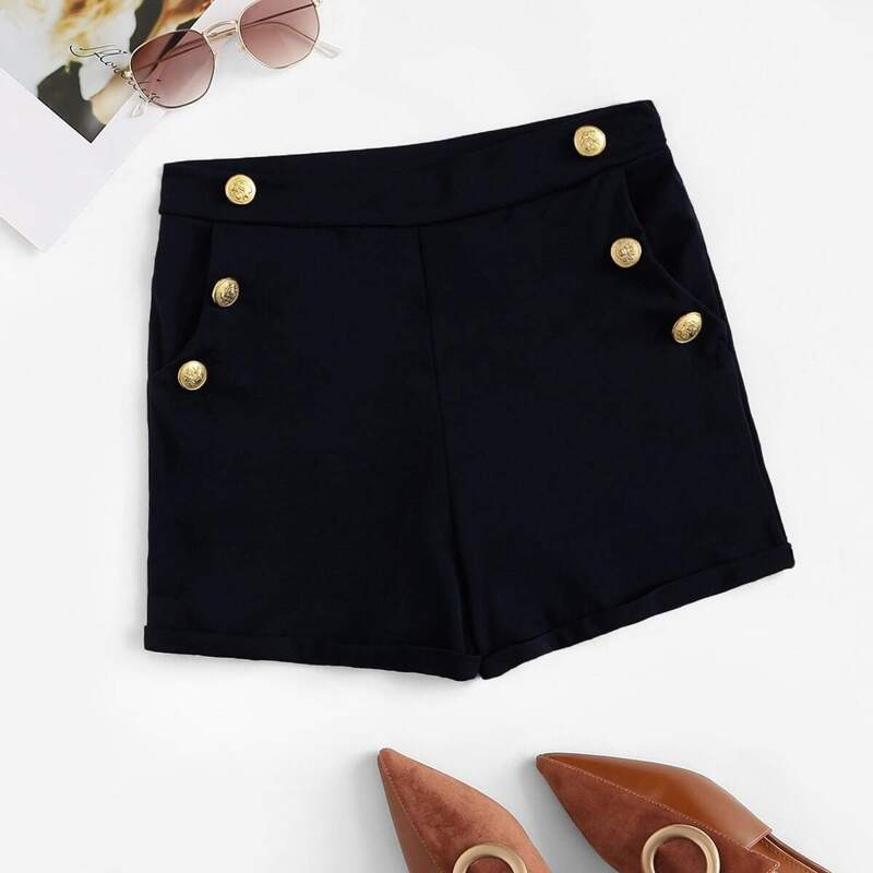 Double Breasted Zip Side Shorts, Black
