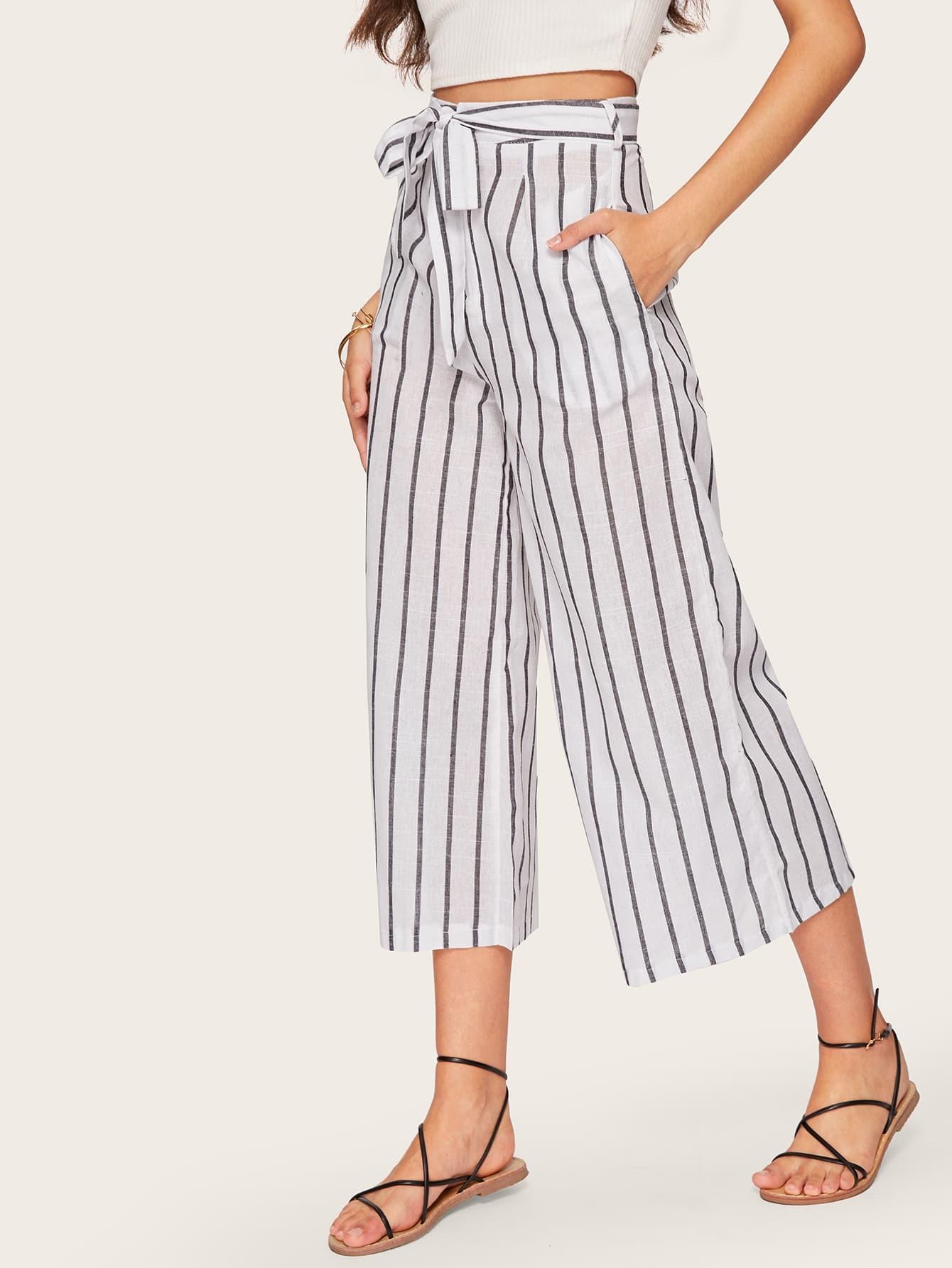 Купить Полосатые широкие ножные штаны с поясом, Mariana D, SheIn