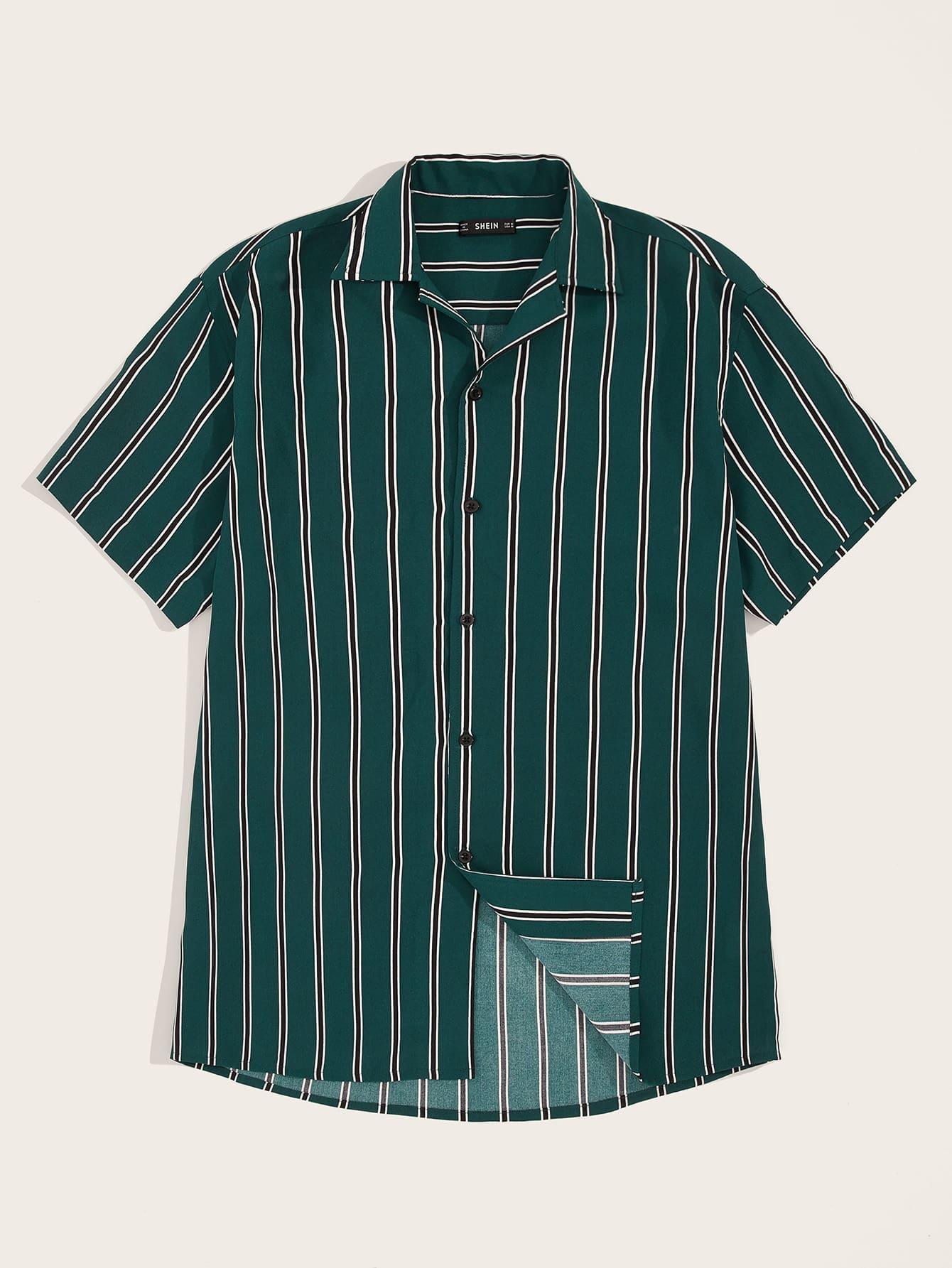 Купить Мужская полосатая рубашка с коротким рукавом, null, SheIn