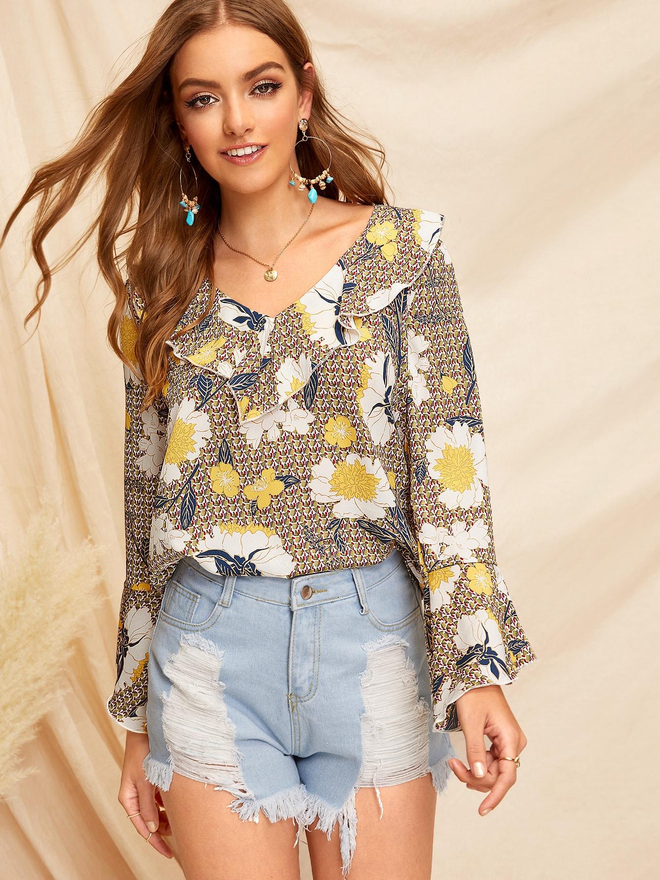 Купить Цветочная блузка с оригинальным рукавом и оборкой, Luiza, SheIn