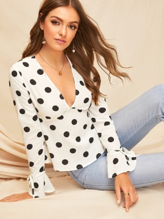 Plunge Neck Tied Sleeve Polka Dot Top