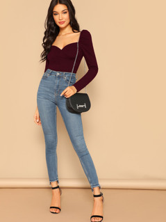 Sweetheart Wrap Front Top