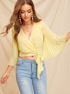 Pleated Bell Sleeve Surplice Wrap Top