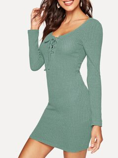 Lace-up Neck Rib Knit Bodycon Dress