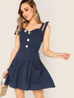 Knotted Shoulder Button Front Belted Dress