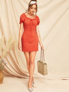 Frilled Trim Bow Front Dress