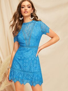 Open Back Guipure Lace Dress