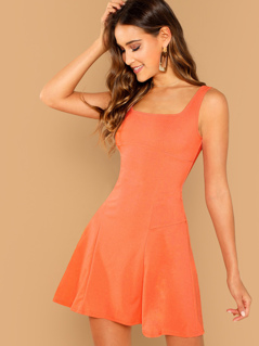 Solid Fit & Flare Tank Dress