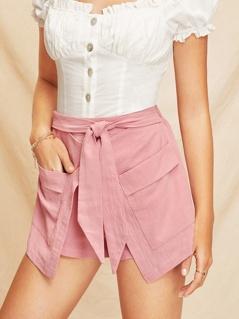 Tie Waist Double Pocket Layered Shorts