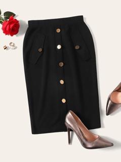 Zip Back Button Embellished Solid Skirt