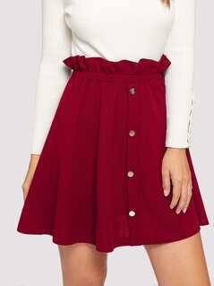 Ruffle Trim Buttoned Front Skirt