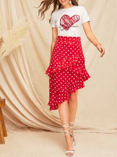 Ruffle Trim Asymmetrical Hem Polka Dot Skirt