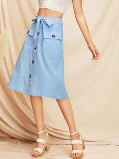 Button Front Dual Flap Pocket Belted Skirt