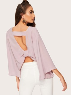 Cutout Back Bell Sleeve Solid Top
