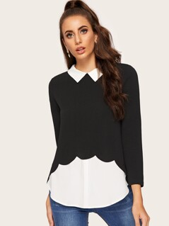Curved Hem Scalloped 2 In 1 Blouse