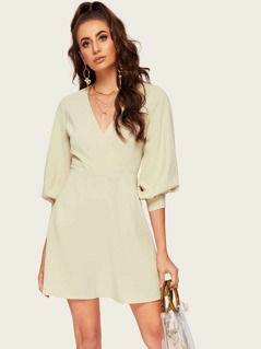 Surplice Neck Lantern Sleeve Dress