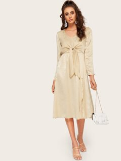 Knot Front Split V-neck Satin Dress