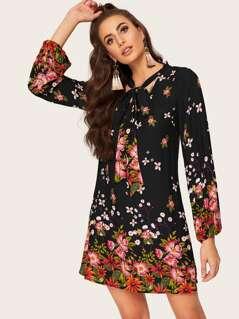 Tie Neck Lantern Sleeve Floral Dress