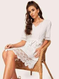 Tassel Tie Guipure Lace Scallop Trim Belted Dress