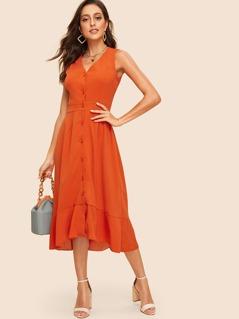 70s Button Through Pep Hem Midi Dress